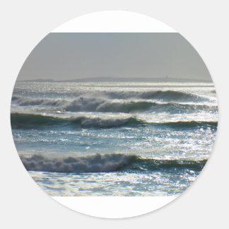 waves classic round sticker