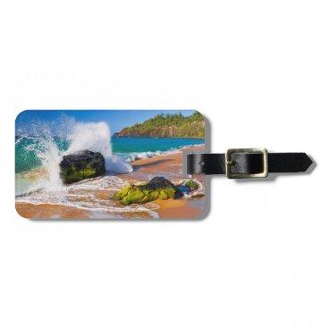 Beach Themed Waves crash on the beach, Hawaii Bag Tag