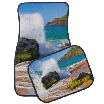 Beach Themed Waves crash on the beach, Hawaii Car Mat