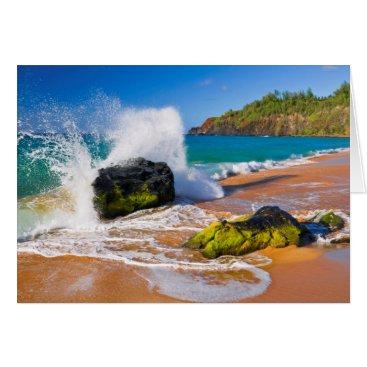 Beach Themed Waves crash on the beach, Hawaii Card