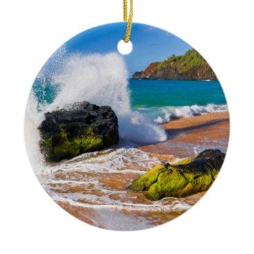 Beach Themed Waves crash on the beach, Hawaii Ceramic Ornament