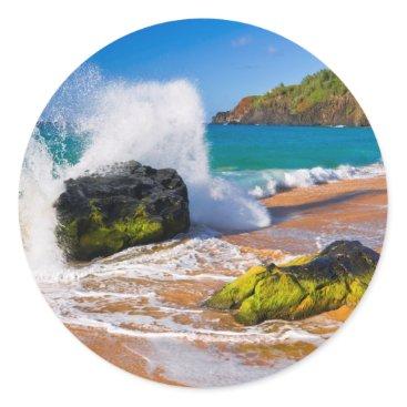 Beach Themed Waves crash on the beach, Hawaii Classic Round Sticker