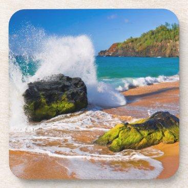 Beach Themed Waves crash on the beach, Hawaii Coaster