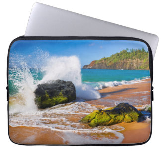Waves crash on the beach, Hawaii Computer Sleeve