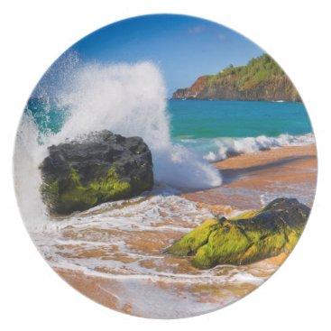 Beach Themed Waves crash on the beach, Hawaii Dinner Plate