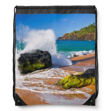 Beach Themed Waves crash on the beach, Hawaii Drawstring Backpack