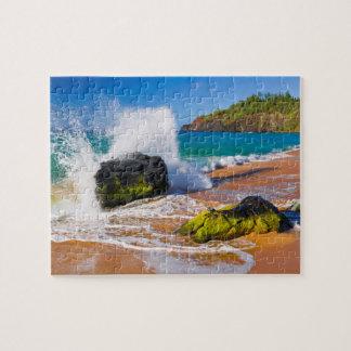 Waves crash on the beach, Hawaii Jigsaw Puzzle