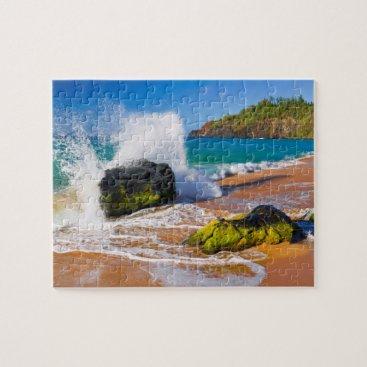 Beach Themed Waves crash on the beach, Hawaii Jigsaw Puzzle