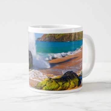 Beach Themed Waves crash on the beach, Hawaii Large Coffee Mug