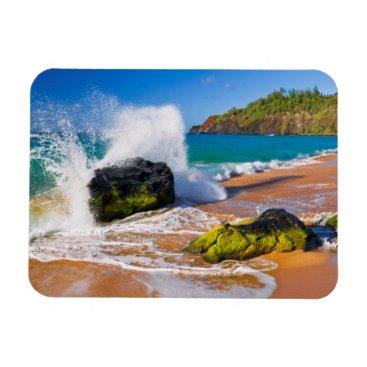 Beach Themed Waves crash on the beach, Hawaii Magnet