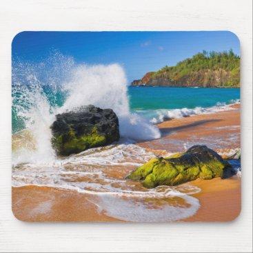 Beach Themed Waves crash on the beach, Hawaii Mouse Pad