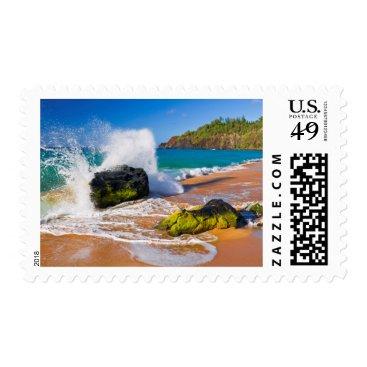 Beach Themed Waves crash on the beach, Hawaii Postage