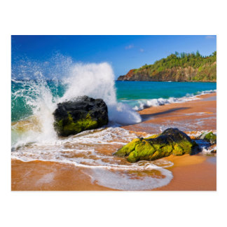 Waves crash on the beach, Hawaii Postcard