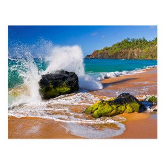 Waves crash on the beach, Hawaii Postcard