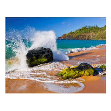 Beach Themed Waves crash on the beach, Hawaii Postcard