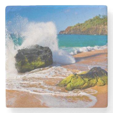 Beach Themed Waves crash on the beach, Hawaii Stone Coaster