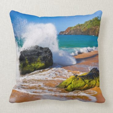 Beach Themed Waves crash on the beach, Hawaii Throw Pillow