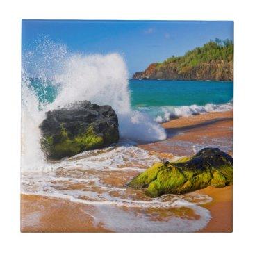 Beach Themed Waves crash on the beach, Hawaii Tile