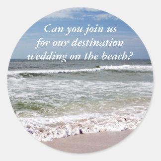 Waves Crash on the Sandy Beach Classic Round Sticker