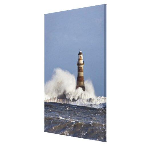 Waves Crashing Against Roker Lighthouse Canvas Prints