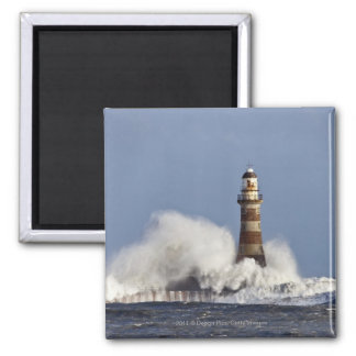 Waves Crashing Against Roker Lighthouse 2 Inch Square Magnet