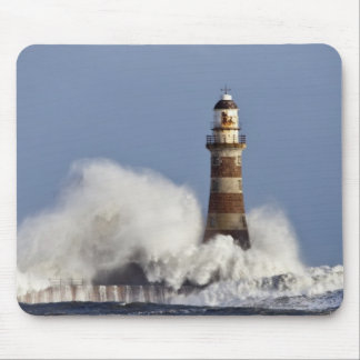 Waves Crashing Against Roker Lighthouse Mousepads