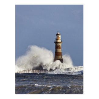 Waves Crashing Against Roker Lighthouse Postcard