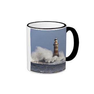 Waves Crashing Against Roker Lighthouse Ringer Mug