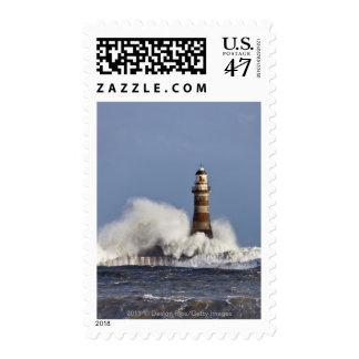 Waves Crashing Against Roker Lighthouse Stamp