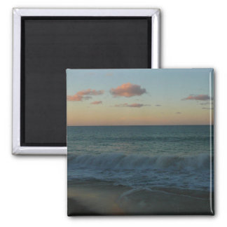 Waves Crashing at Sunset Beach Landscape 2 Inch Square Magnet