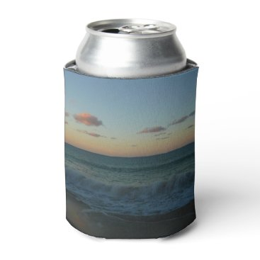 Beach Themed Waves Crashing at Sunset Beach Landscape Can Cooler