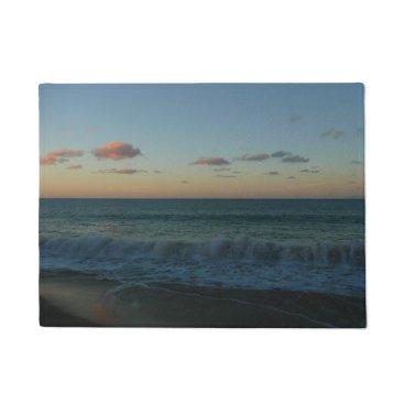 Beach Themed Waves Crashing at Sunset Beach Landscape Doormat