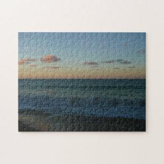 Waves Crashing at Sunset Beach Landscape Jigsaw Puzzle