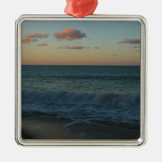 Waves Crashing at Sunset Beach Landscape Metal Ornament