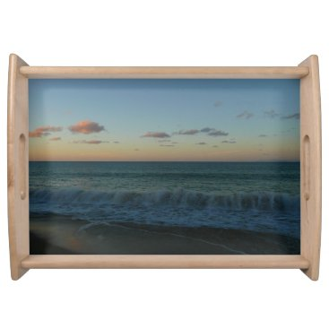Beach Themed Waves Crashing at Sunset Beach Landscape Serving Tray