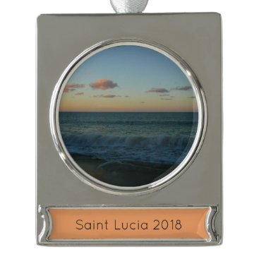 Beach Themed Waves Crashing at Sunset Beach Landscape Silver Plated Banner Ornament