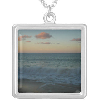 Waves Crashing at Sunset Beach Landscape Silver Plated Necklace