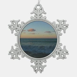 Waves Crashing at Sunset Beach Landscape Snowflake Pewter Christmas Ornament