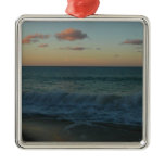 Waves Crashing at Sunset Beach Landscape Square Metal Christmas Ornament