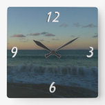 Waves Crashing at Sunset Beach Landscape Square Wall Clock
