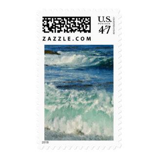 Waves Crashing Big Sur California Painted Postage Stamp