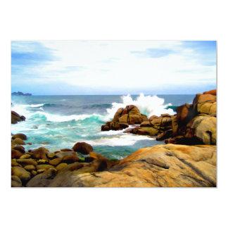 Waves Crashing on Rocky Shore Card