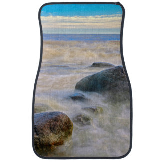 Waves crashing on shoreline rocks car floor mat