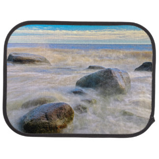 Waves crashing on shoreline rocks car mat