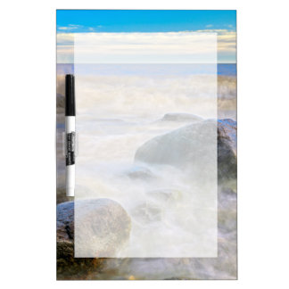 Waves crashing on shoreline rocks Dry-Erase board