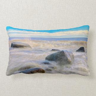 Waves crashing on shoreline rocks lumbar pillow