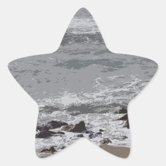Waves Crashing on to the Beach Star Sticker