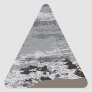 Waves Crashing on to the Beach Triangle Sticker