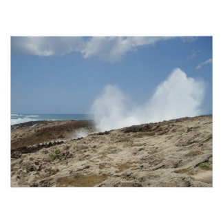 Waves crashing onto a rocky sandy shore poster