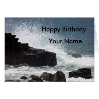 Waves Crashing onto Rocks Birthday Card